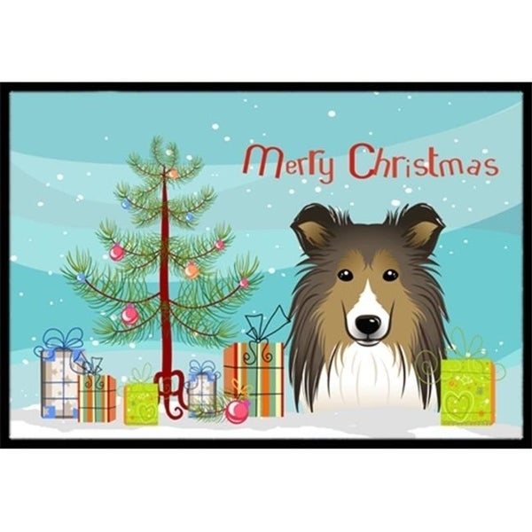 Carolines Treasures BB1614MAT Christmas Tree & Sheltie Indoor or Outdoor Mat 18 x 27