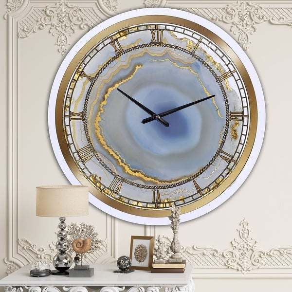 Silver Orchid Arbuckle 'Golden Water Agate' Oversized Fashion Wall Clock. Opens flyout.