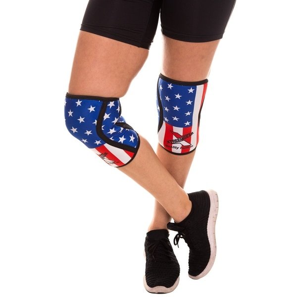 030b3119f7 Compression Knee Sleeves Knee Pads For MMA Weight Training Work Braces US  Flag - us flag