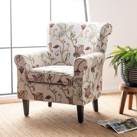 "Safavieh Gramercy Red/Ivory Floral Club Chair - 29.8"" W x 32.8"" L x 32.4"" H"