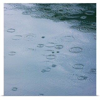 Poster Print entitled Rain drops and water ripples