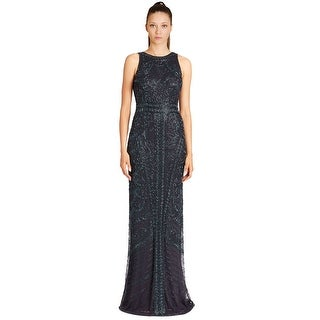 Theia Floral Sequined Sleeveless Evening Gown Dress - 12