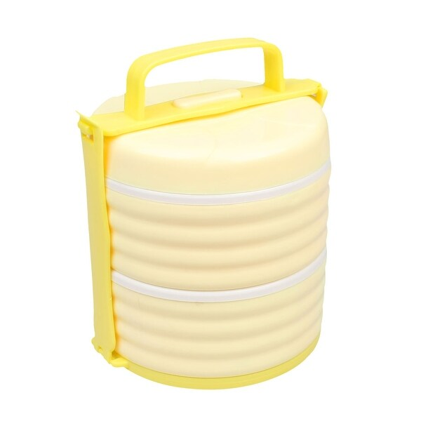 Unique Bargains Round Shape Double Layer Food Container Lunch Box Light Yellow