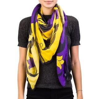 Versace Women's Floral Pattern Modal Cashmere Blend Scarf Purple