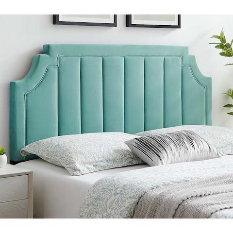 Deltona Light Green Velvet Upholstered Twin Size Headboard