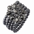 Black IP Black & Hematite Acrylic Beads Stretch Bracelet - Thumbnail 0