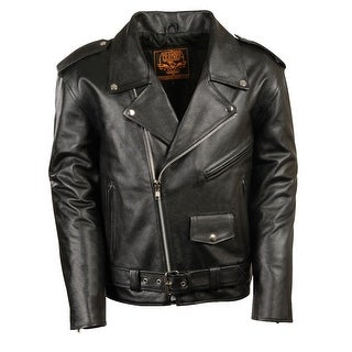 Mens Black Leather Motorcycle Style Jacket