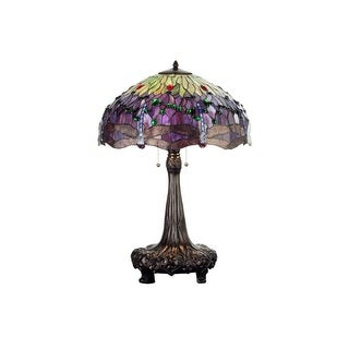 Meyda Tiffany 31112 Stained Glass / Tiffany Table Lamp from the Hanginghead Dragonfly Collection - n/a