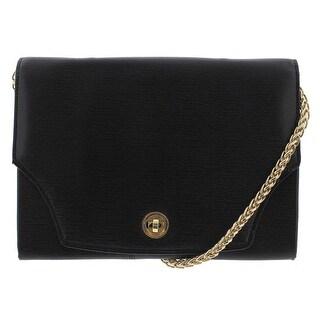 Tusk Womens Madison Leather Flap Evening Handbag - Black - Small