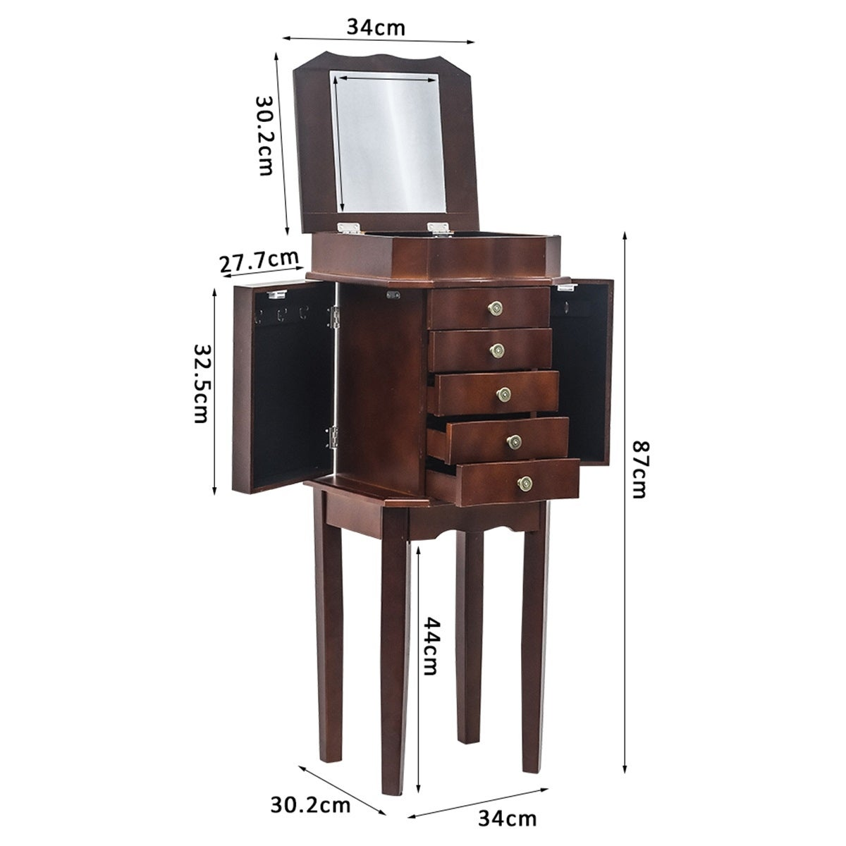 Image of: Shop Standing Jewelry Armoire With Mirror 5 Drawers 6 Necklace Hooks On Sale Overstock 31584690
