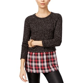 Sanctuary Womens Pullover Top Mixed Media Plaid