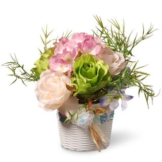 National Tree NF36-5277-1 Assorted Flowers in White Basket Style Vase