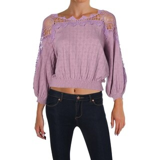 Free People Womens Juniors Blouse Lace-Trim 3/4 Sleeves - S