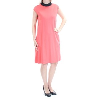 ARMANI Womens Coral Cap Sleeve Turtle Neck Above The Knee Sheath Wear To Work Dress Size: 4
