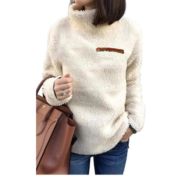 Shop Women Sherpa Pullover Sweaters Warm Tunic Tops