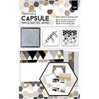 - Papermania Geometric Mono Mini Cards & Stamps Set 15/Pkg