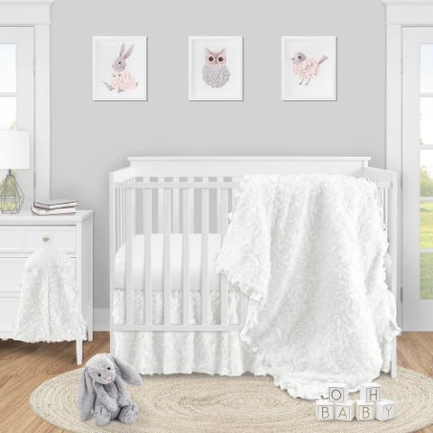 White Floral Rose Girl 4pc Nursery Crib Bedding Set - Solid Flower Luxurious Elegant Princess Vintage Boho Shabby Chic Luxury