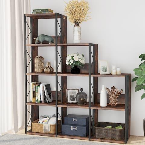 12 Shelves Bookshelf Industrial Ladder Bookcase 9 Cubes Display Shelf
