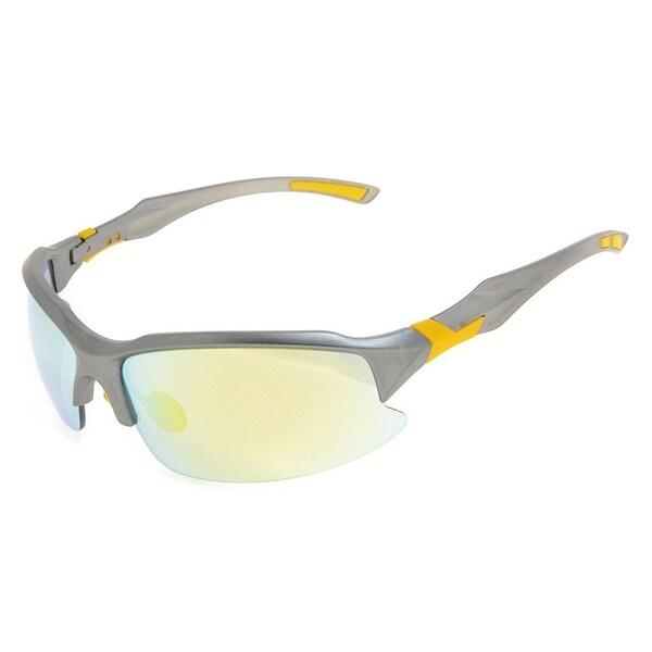 Eyekepper Polycarbonate Polarized TR90 Unbreakable Half-Rim Sport Sunglasses For Men Women Grey Frame Gold Mirror