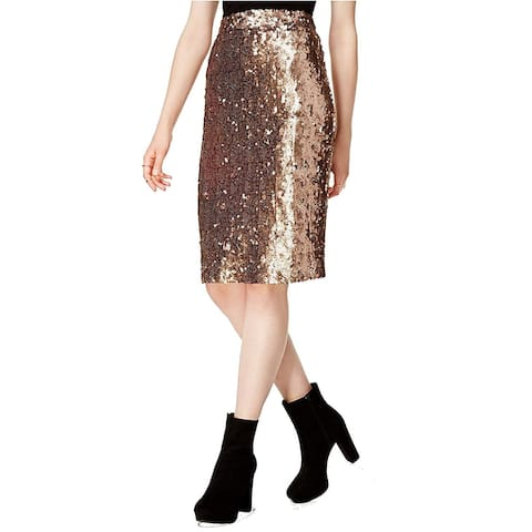Bar III Women's Sequined Pencil Skirt, Copper (XS)