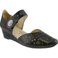 Spring Step Women's Nougat Closed Toe Sandal Black Leather