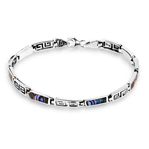 Handmade Greek Key Stone Inlay Sterling Silver Bracelet (Thailand)