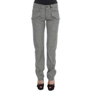 Ermanno Scervino Black White Checkered Cotton Casual Pants - it42-m
