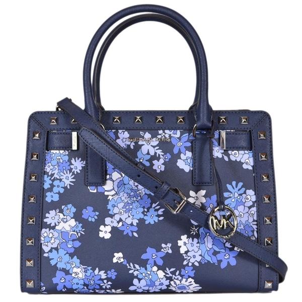 c99da77bf94a Michael Kors Blue Studded Floral Medium Dillon Convertible Purse Bag - 13