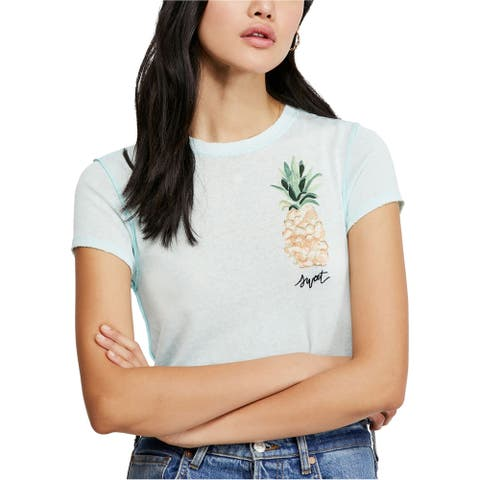 Free People Womens Pineapple Graphic T-Shirt ltblue S