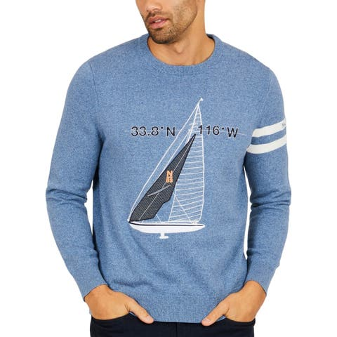 Nautica Palm Spring Mens Embroidered Crewneck Sweater