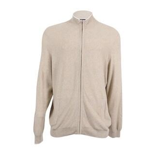 Club Room NEW Beige Mens Large L Stand Collar Silk Full Zip Sweater