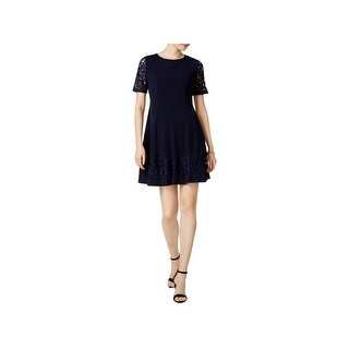 Jessica Howard Womens Petites Cocktail Dress Lace Trim Above Knee
