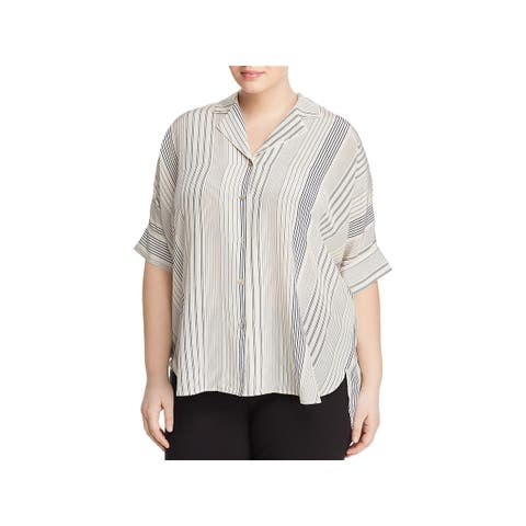 Eileen Fisher Womens Plus Button-Down Top Silk Striped