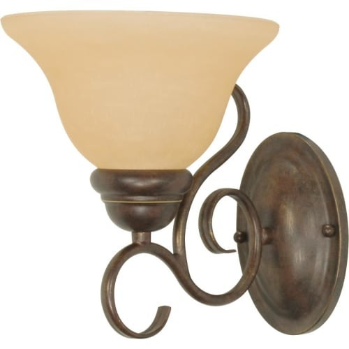 """Nuvo Lighting 60/1032 Castillo Single Light 7.3"""" Wide Bathroom Sconce with Champagne Washed Linen Glass Shade"""