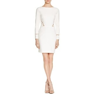 Nicole Miller Womens Party Dress Lace Inset Long Sleeves