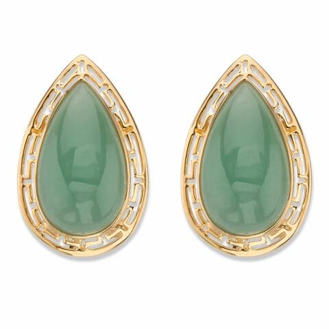 Gold over Silver Pear Shaped Genuine Green Jade Cutout Halo Earrings