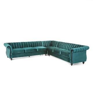 Christopher Knight Home Sunbury Modern Glam Velvet Channel Stitch Sectional Sofa Set