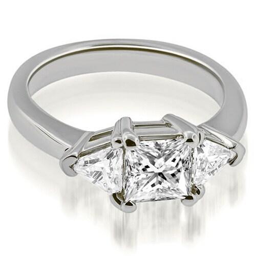 1.25 cttw. 14K White Gold Princess Trillion Three-Stone Diamond Engagement Ring