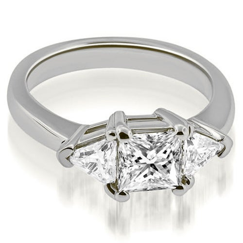 1.50 cttw. 14K White Gold Princess Trillion Three-Stone Diamond Engagement Ring