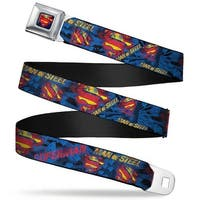 Superman Shield Rays Full Color Black Blue Red Yellow Superman Man Of Steel Seatbelt Belt