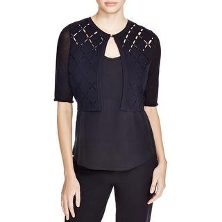 Elie Tahari Womens Margo Cardigan Sweater Stretch Cut-Out