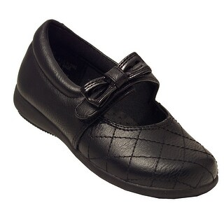 Rachel Shoes Girls Black Quilted Stitch Bow Accent Mary Jane Shoes
