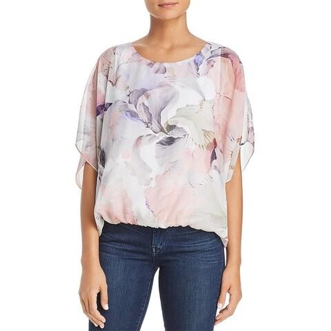 Vince Camuto Womens Blouse Crepe Floral Print