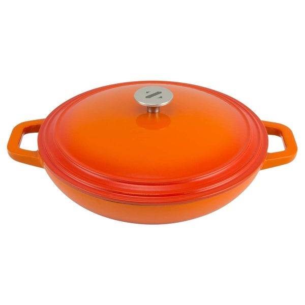 Zelancio Cookware 3 Quart Enameled Cast iron Casserole Dish with lid - Perfect for Brazing, Slow Cooking, Simmering and Baking (