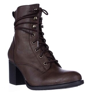 AR35 Laina Lace Up Block Heel Boots, Brown