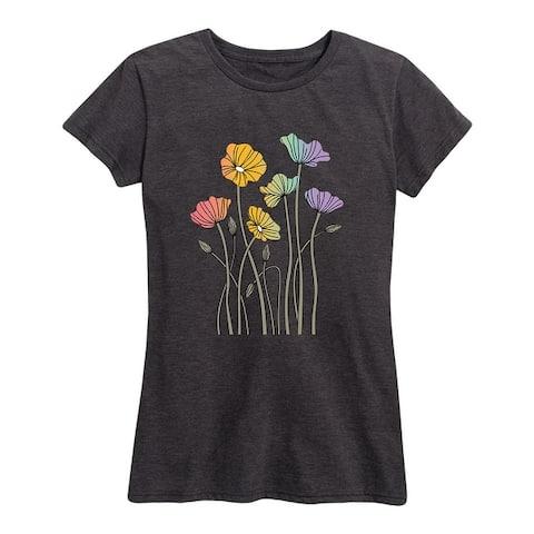 Rainbow Poppies - Women's Short Sleeve Graphic T-Shirt