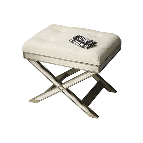Offex Transitional Rectangular Vanity Stool Mirror - Silver