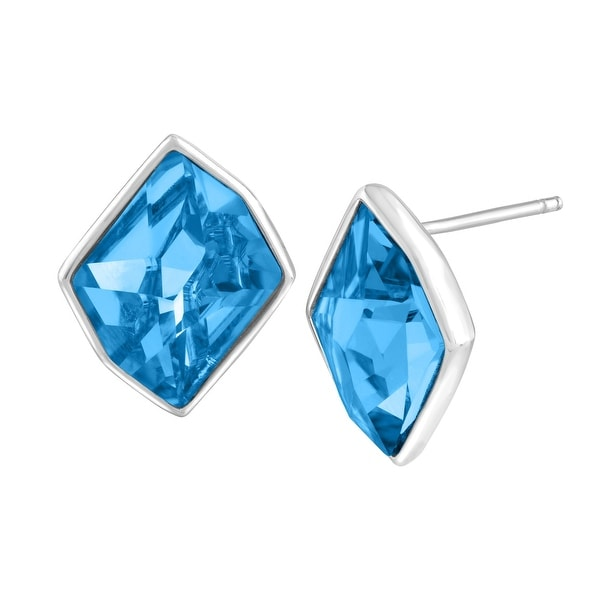 Crystaluxe Stud Earrings with Sky Blue Swarovski Crystals in Sterling Silver