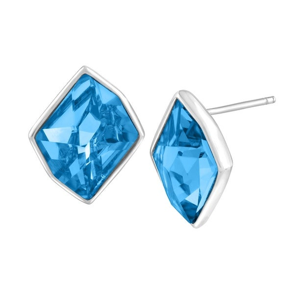 Crystaluxe Stud Earrings with Sky Blue Swarovski elements Crystals in Sterling Silver
