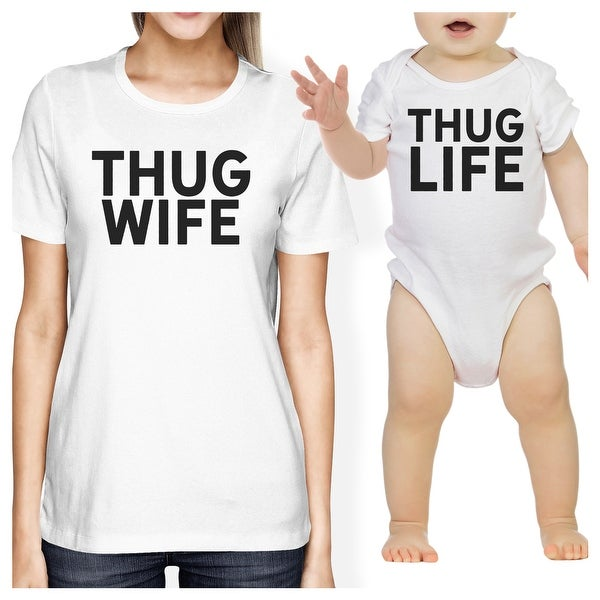 Thug Wife Thug Life White Baby Bodysuit Women's Graphic T-Shirt